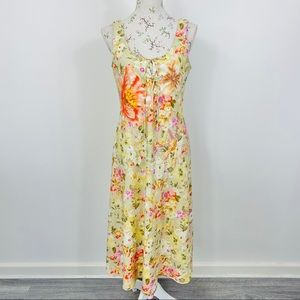 Y2K Womens Midi Dress Floral Beaded Size 14